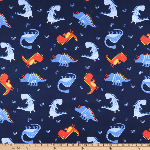 E.Z. Fabric Jersey Knit Friendly Dinosaurs Blue