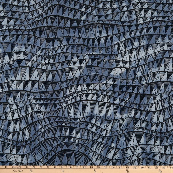 Trans-Pacific Textiles Sharkstooth Wave Charcoal