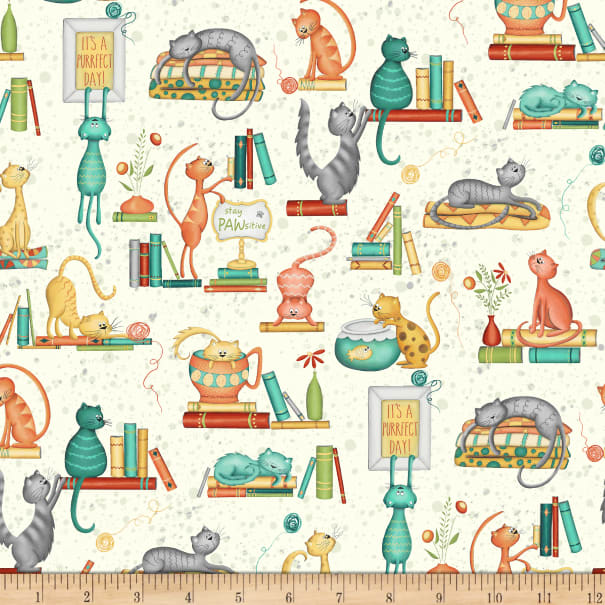Purrfect Day Catitude White Windham Fabrics Cat Fabric Sold by the Yard