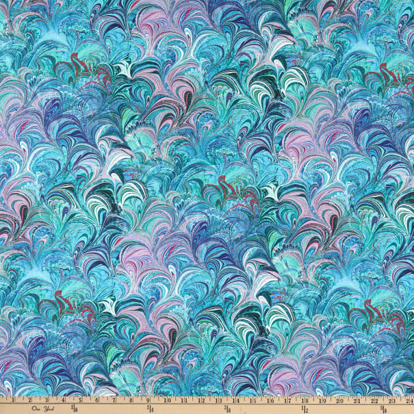 Benartex Poured Color Cosette Teal/Multi