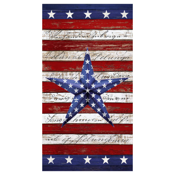 """Timeless Treasures Home Of The Brave Patriotic Star 24"""" Panel USA"""