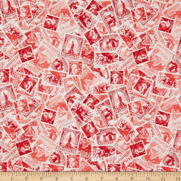 Windham Fabrics We The People Patriotic Stamps Red