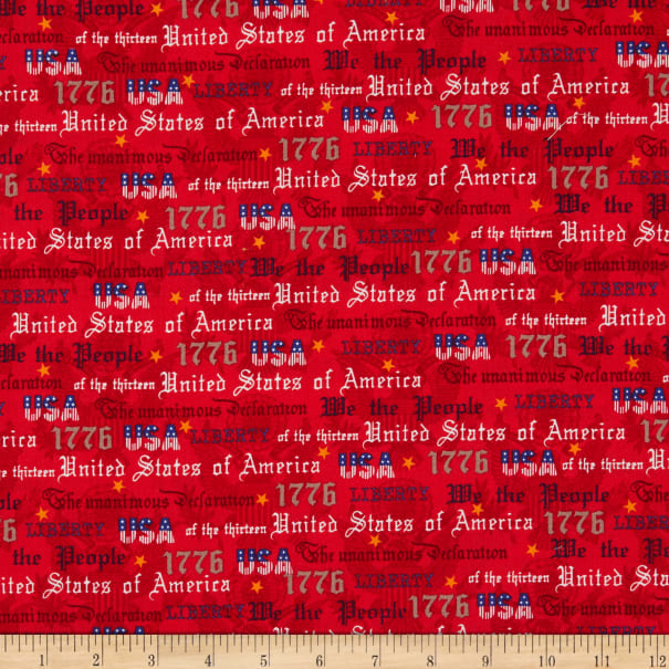 Windham Fabrics We The People Patriotic Text Red