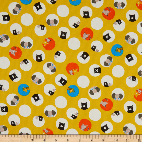 Kaufman Sevenberry Bearry Land Animals In Circles Yellow