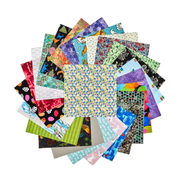 """Exclusive Fabric.com Mystery 8"""" x 8"""" Bundle 25pcs Assorted"""