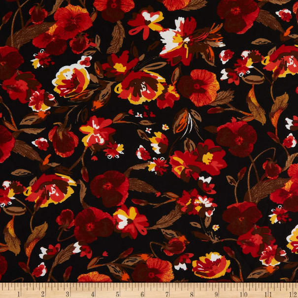 Printed Floral Chiffon Black/Orange