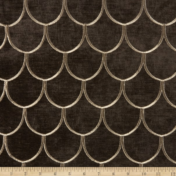Arya Dragon Scale Embroidered Velvet Chocolate Gold
