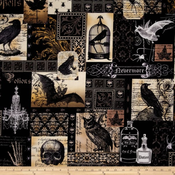 Michael Miller Nevermore Collection Nevermore Collage Urban Grit Black