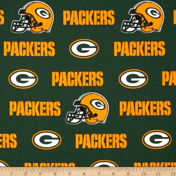 Nfl Cotton Broadcloth Green Bay Packers White Green Yellow Fabric Com