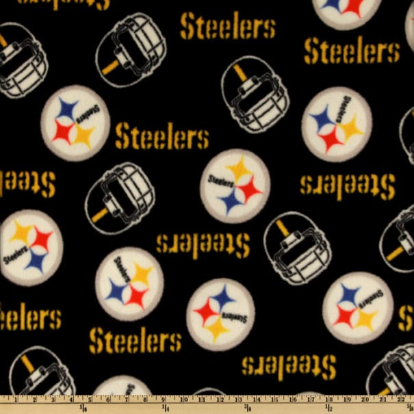 Pittsburgh Steelers Black Gold and White Fleece Fabric By The Yard