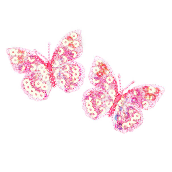 Small Butterfly Iron On Sequin Applique Pink