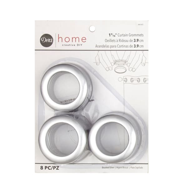 Curtain Grommets 8 Pack Brushed Silver 1