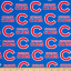 MLB Cotton Broadcloth Chicago Cubs Blue/Red