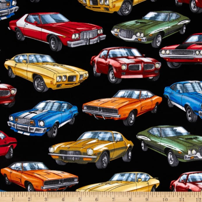 Kanvas On The Road Again Muscle Car Black Discount Designer Fabric