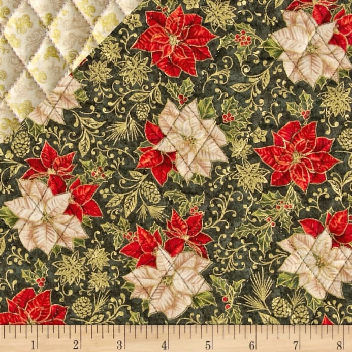 Celebrate the Season Double Sided Quilted Poinsettia Green ... : double faced quilted fabric - Adamdwight.com