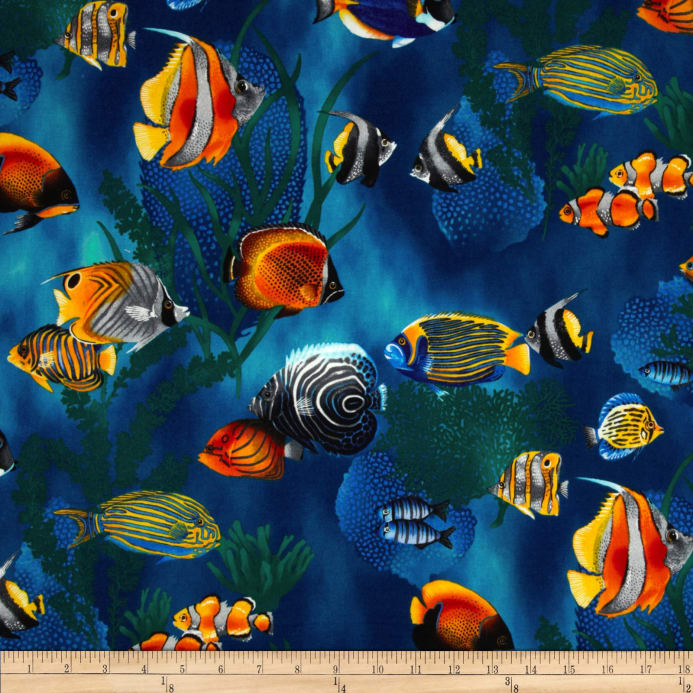 Island sanctuary sea tropical fish cobalt discount for Fishing themed fabric