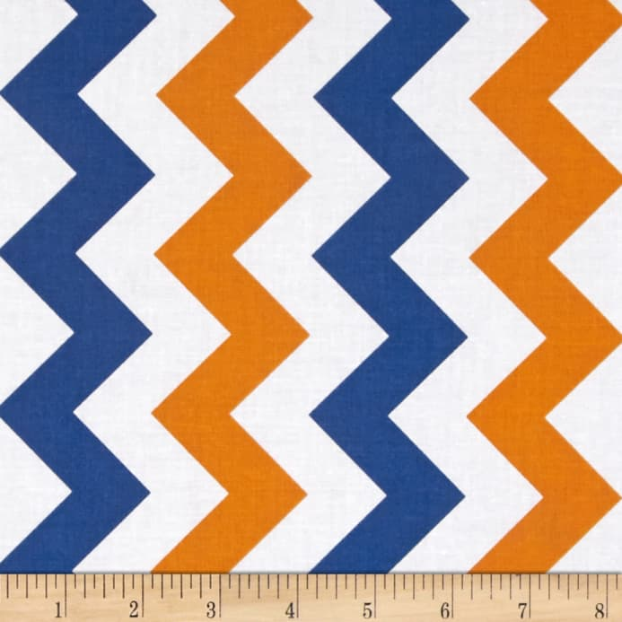 Riley Blake Medium Chevron Orange/Blue - Discount Designer Fabric ...