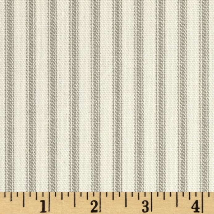 Vertical Ticking Stripe Ivory Grey Fabric