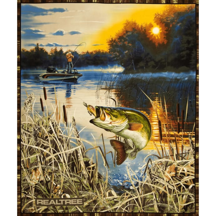 Realtree bass fishing panel beige discount designer for Bass fishing yard sale