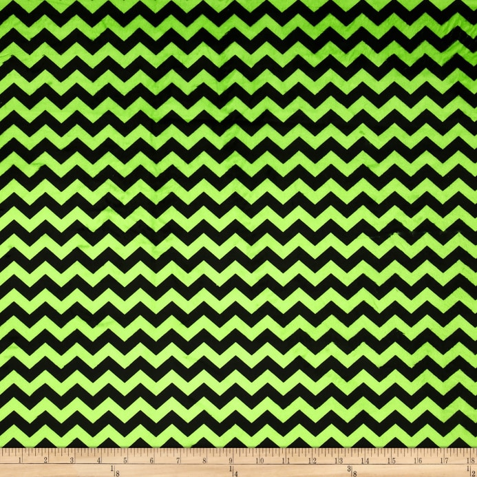 Minky Mini Chevron Bright Lime/Black - Discount Designer Fabric ...