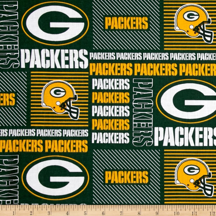 Nfl Cotton Broadcloth Greenbay Packers Patchwork Greenyellow