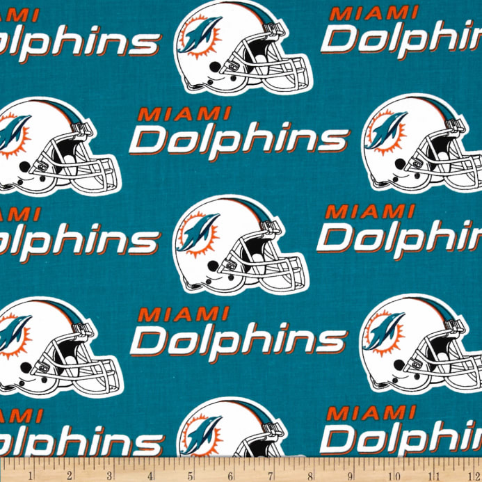 NFL Cotton Broadcloth Miami Dolphins Turquoise Orange - Discount ... 5b50057d6