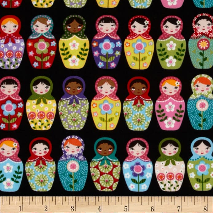 Matryoshka Doll Black Discount Designer Fabric Fabric Com