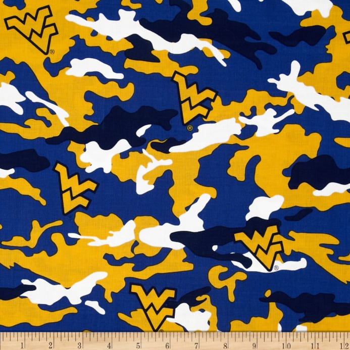 West Virginia University Cotton Camouflage Blue Yellow