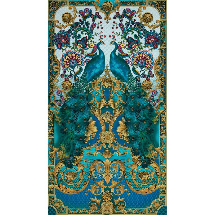 Timeless Treasures Hyde Park Peacock Panel Discount