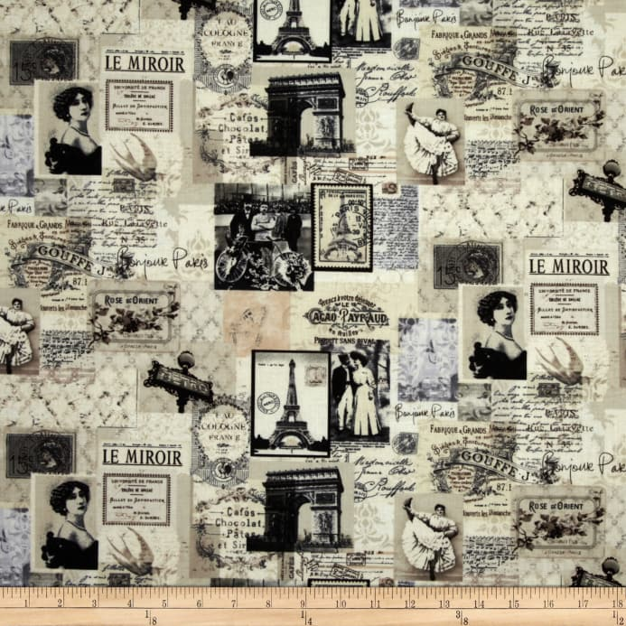 Zoom Timeless Treasures Letters From Paris Map Collage Cream