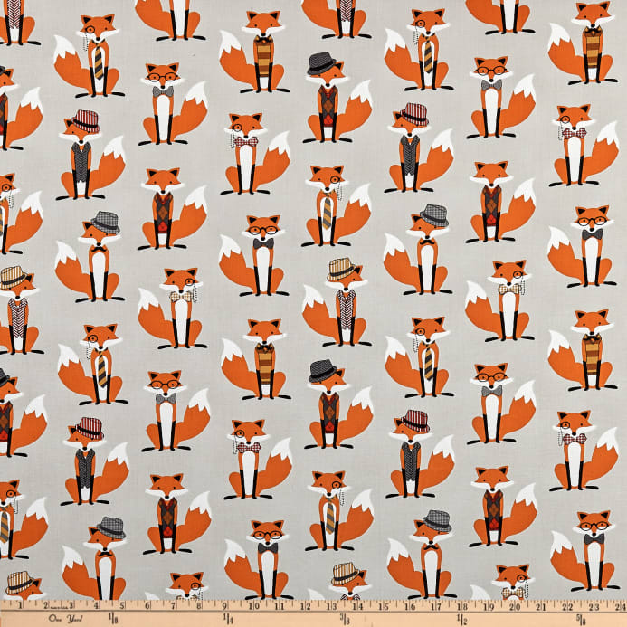 153c2f6f Fox and The Houndstooth Foxes Grey - Discount Designer Fabric ...