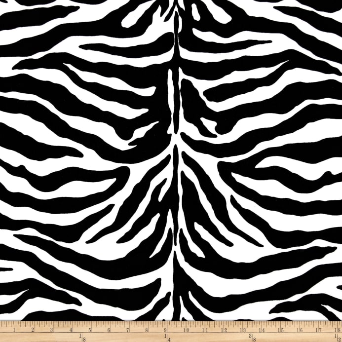 Zoom poly cotton twill zebra print black white