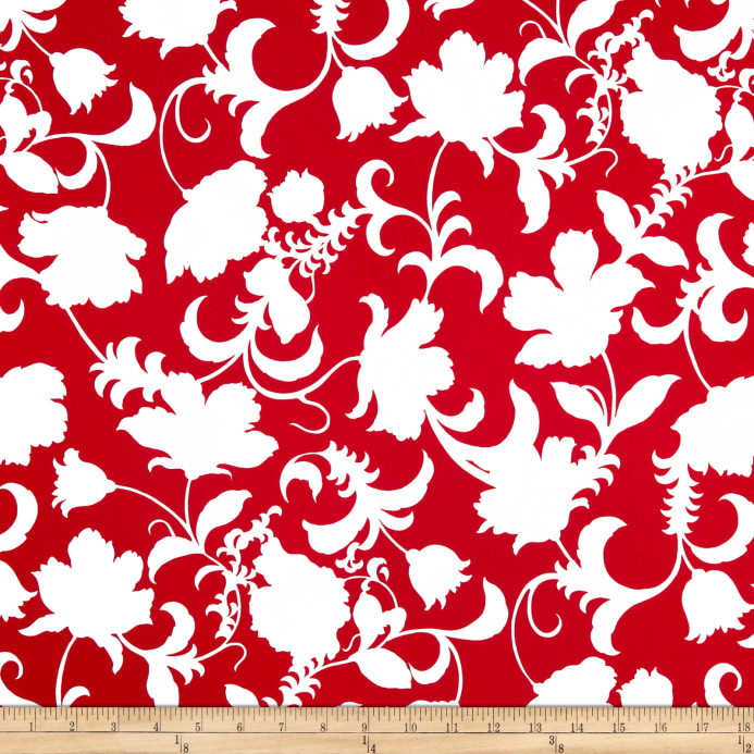 Red And White Patterned Wallpaper: Black And White Gramercy Floral Red/White
