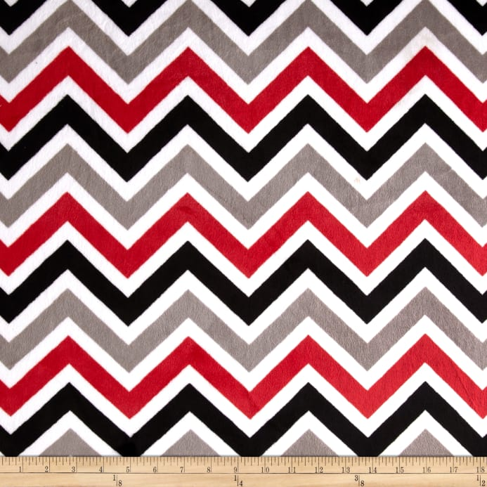 Shannon Minky Cuddle Zig Zag Red Black Snow Discount