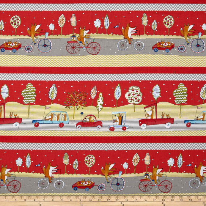 Fox Playground Fox Transportation Red Discount Designer Fabric