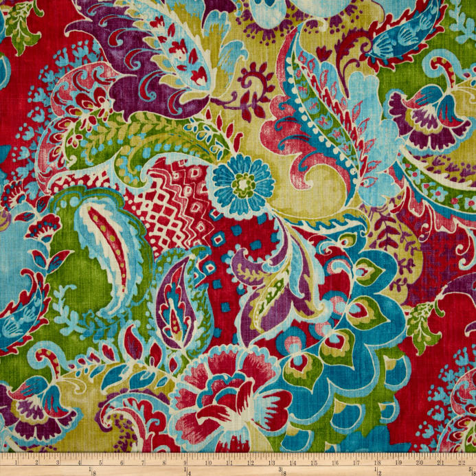 Richloom Teak Slub Bouquet Blue Discount Designer Fabric