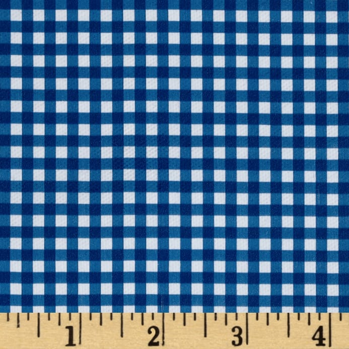 Zoom Fleece Backed Tablecloth Gingham Blue