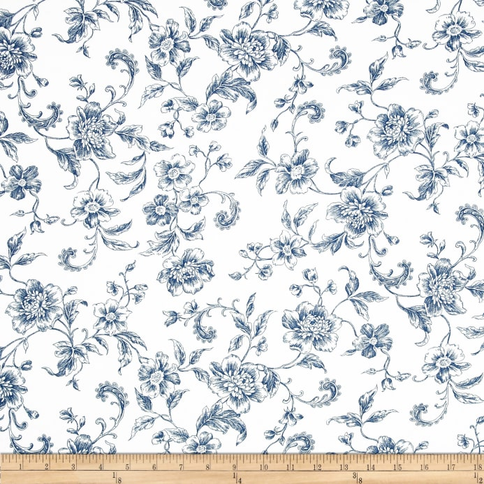 108 Quot Wide Whisper Print Floral Toile Blue Discount