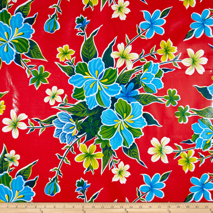 Zoom Oilcloth Hibiscus Red