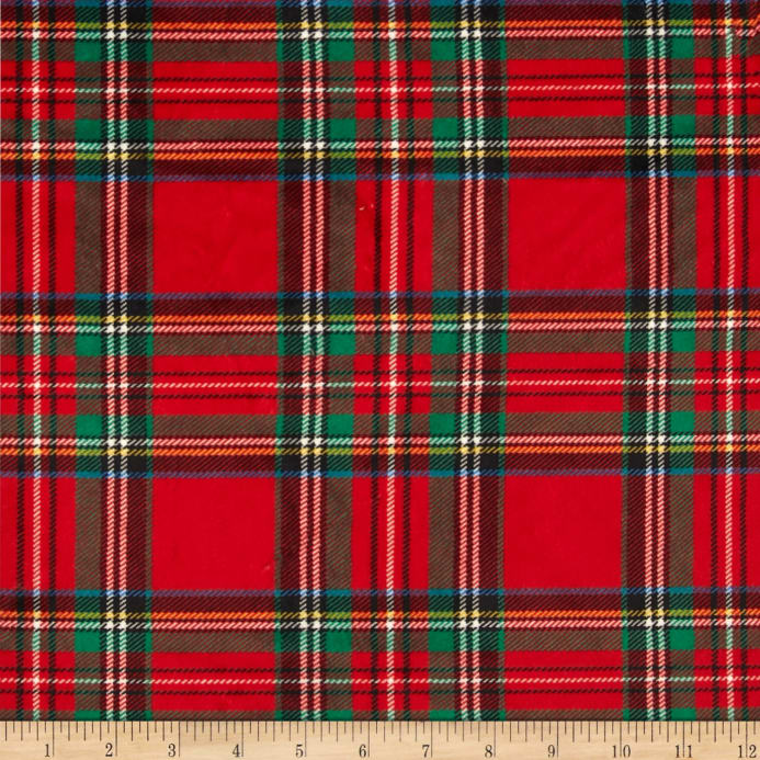 Minky Classic Plaid Red Discount Designer Fabric