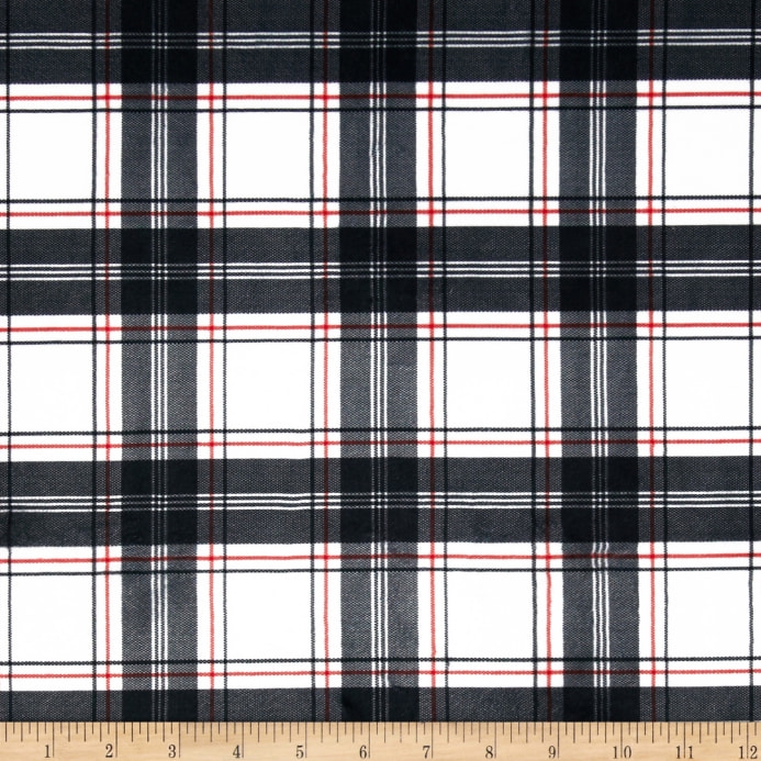 Minky New Plaid Black White Red Discount Designer Fabric