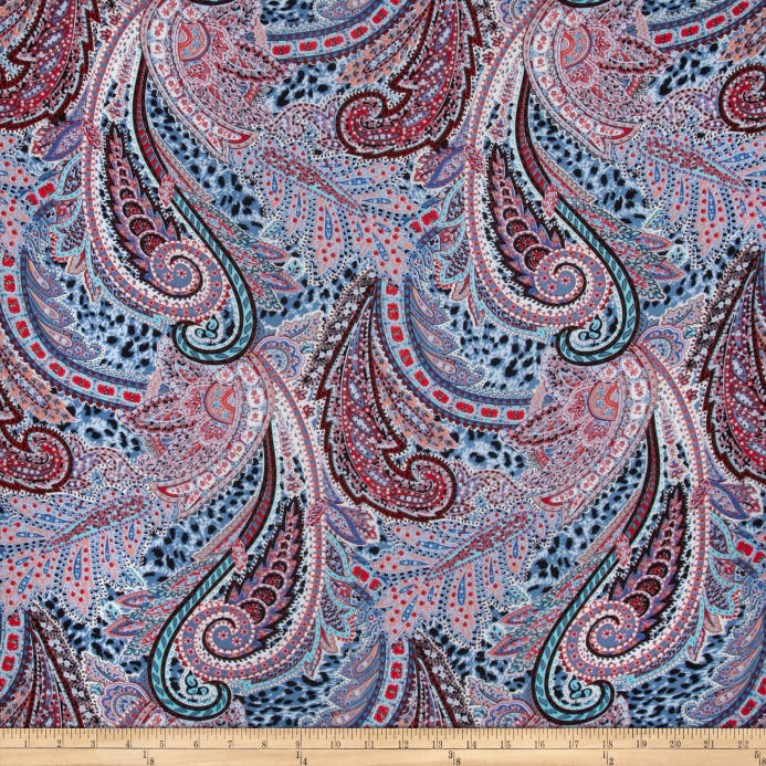Telio Rayon Voile Abstract Light Blue Red Multi Fabric