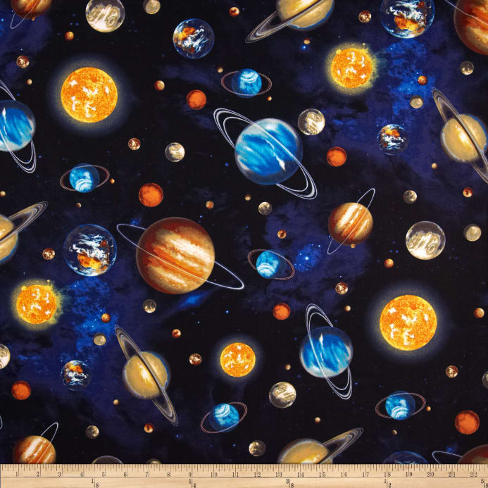 Stargazers Planets Royal Discount Designer Fabric