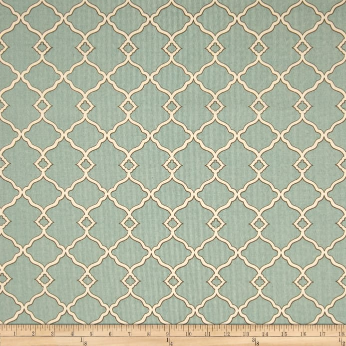 Fretwork Fabric: Waverly Sun N Shade Chippendale Fretwork Mineral