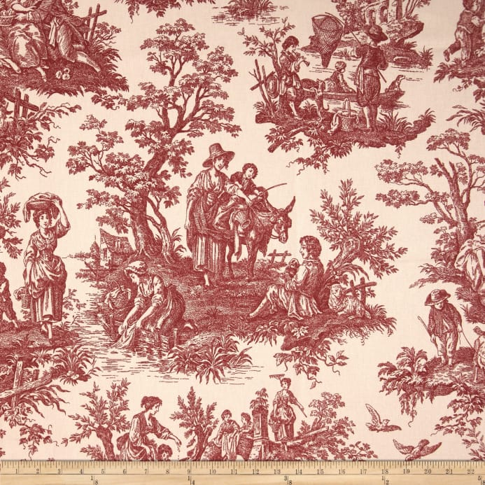 Decorating Ideas Toile Fabric: Waverly Country Life Garnet
