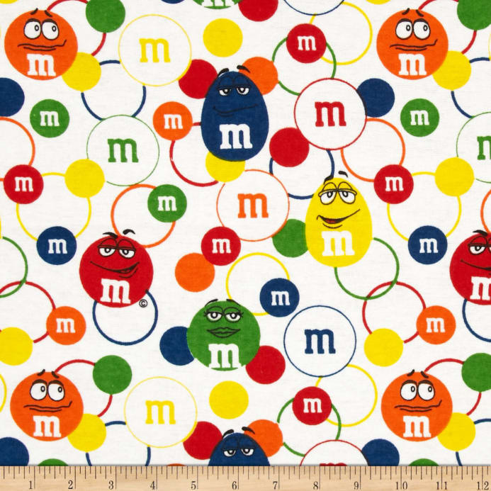 M&M Lentil Love Flannel White - Discount Designer Fabric - Fabric.com