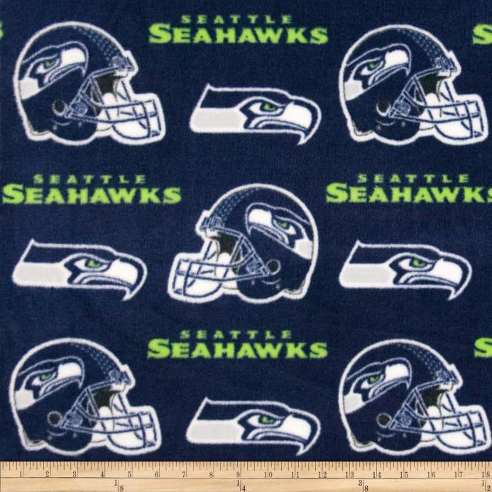 NFL Fleece Seattle Seahawks Dark Blue - Discount Designer Fabric ... 06dfd0480