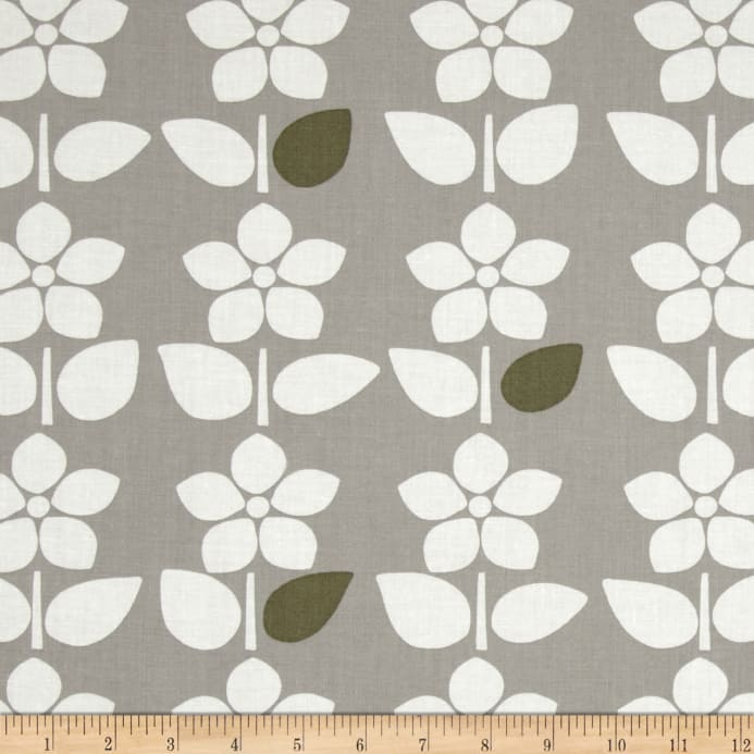 Contempo Brigitte Large Floral Stripe Grey/White - Discount Designer ...
