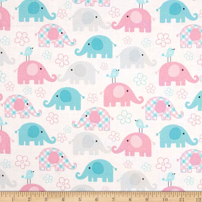 Child 39 s play elephants pastel discount designer fabric for Unique childrens fabric