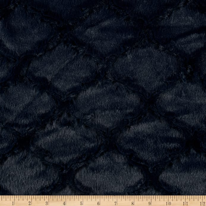 Minky Soft Lattice Cuddle Navy Discount Designer Fabric